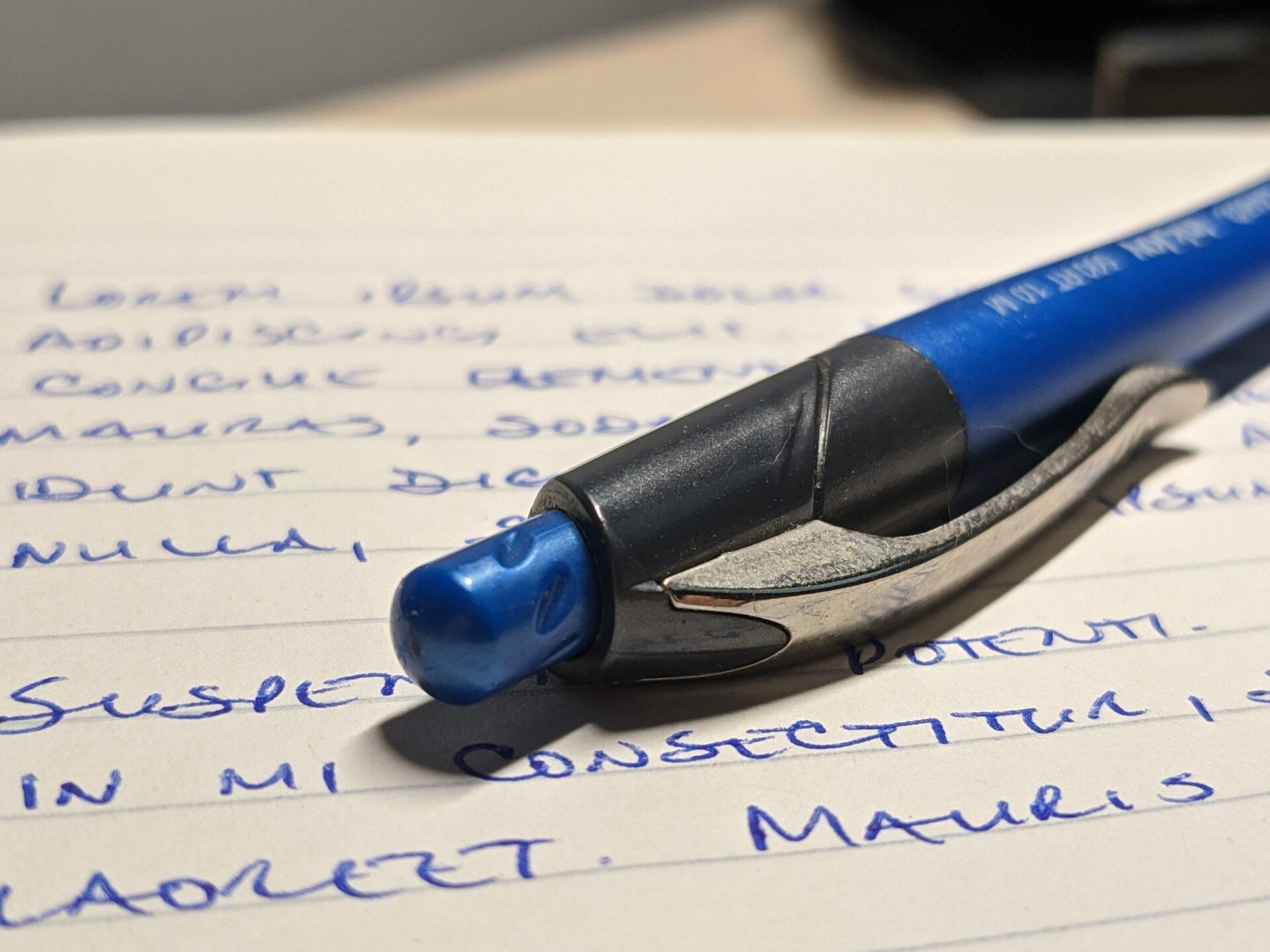 A photo of a pen.